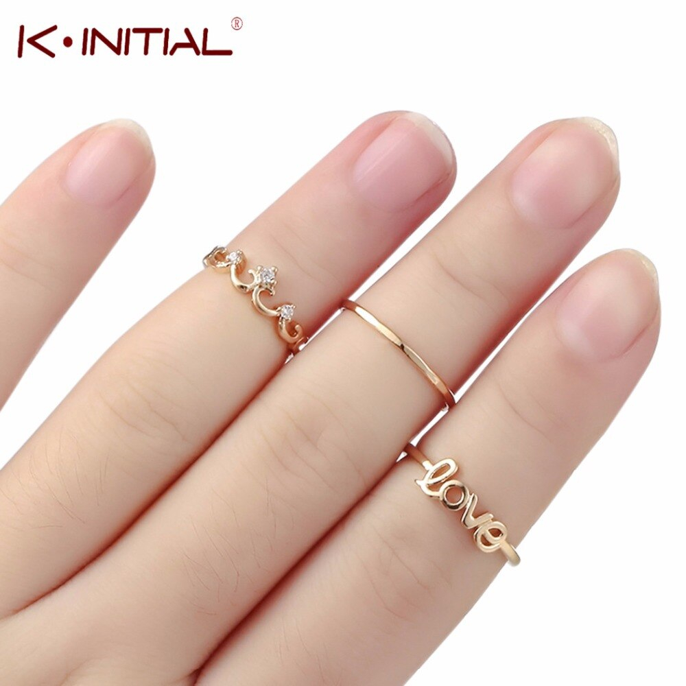 Gold Letter Love Flower Crown Ring Sets For Women Fashion Adjustable Rings  Beach Jewelry Lady Gifts 3Pcs /lot Kinitial  In Rings From Jewelry & Intended For Most Popular Flower Crown Rings (View 11 of 25)