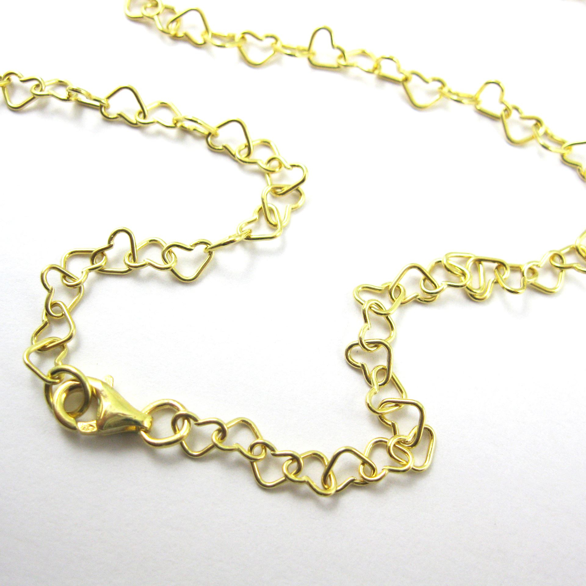 Gold Necklace, Gold Bracelet, Gold Anklet, Gold Plated Vermeil Sterling  Silver Chain – Heart Link Chain – All Sizes Inside Most Up To Date Joined Hearts Chain Necklaces (View 8 of 25)
