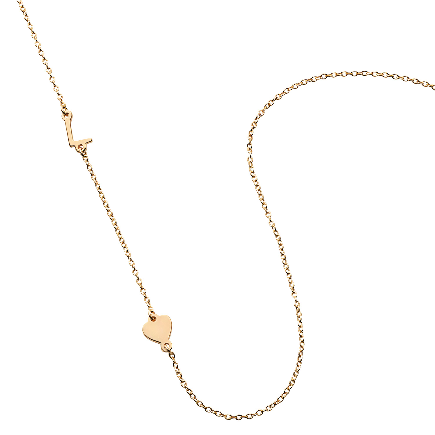 Gold Over Sterling Asymmetrical Initial With Heart Necklace Inside 2020 Asymmetrical Heart Necklaces (View 14 of 25)