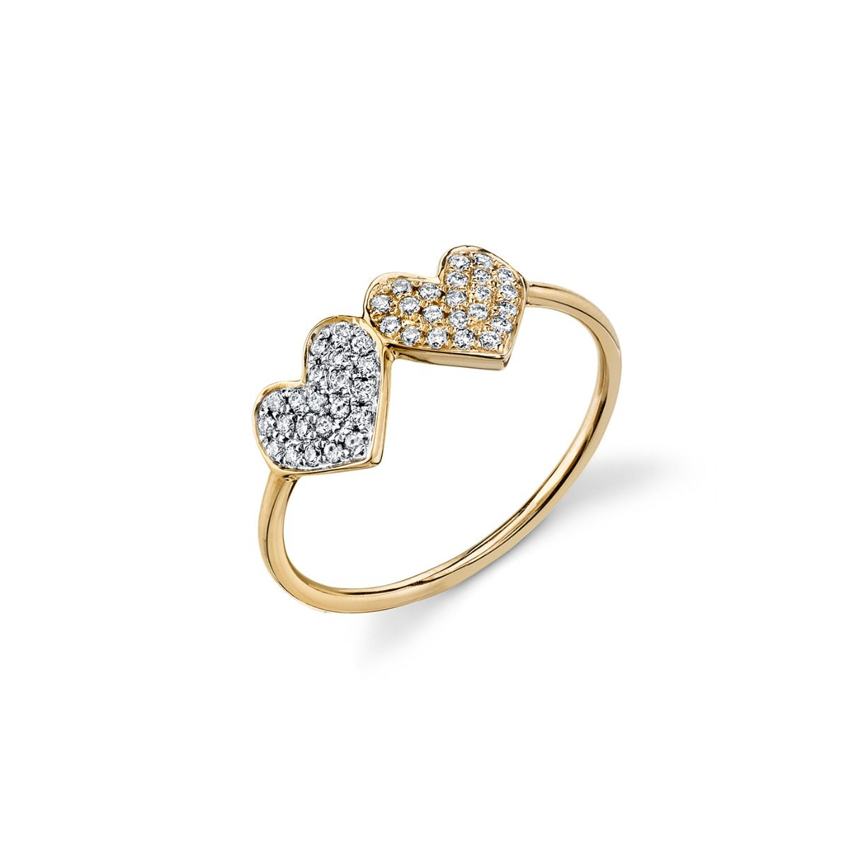 Gold & Pavé Diamond Double Heart Ring For Most Recent Pavé Hearts Band Rings (View 4 of 25)