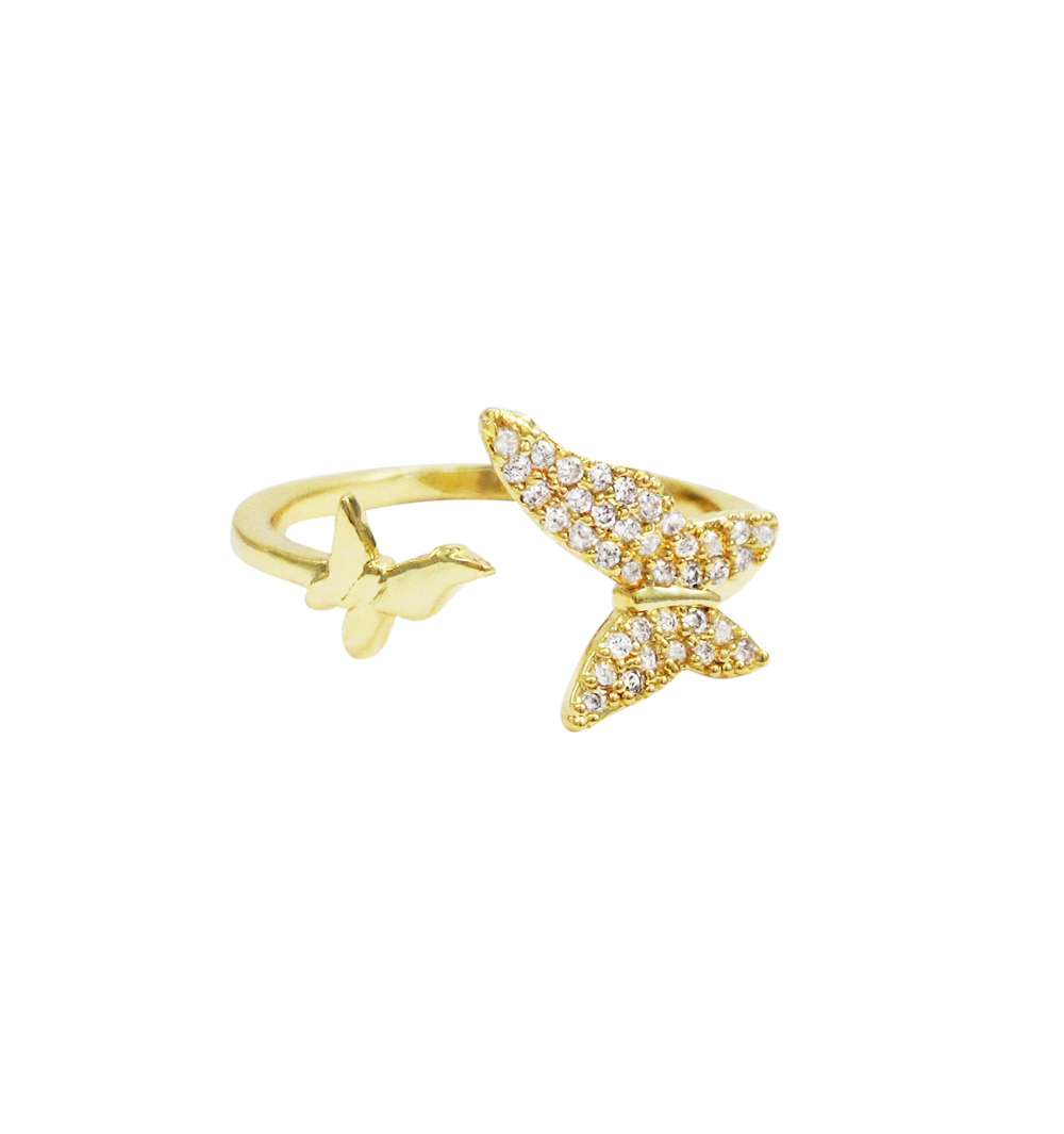 Gold Plated Brass, White Cz Butterfly Open Adjustable Ring In Most Recently Released Butterfly Open Rings (View 11 of 25)