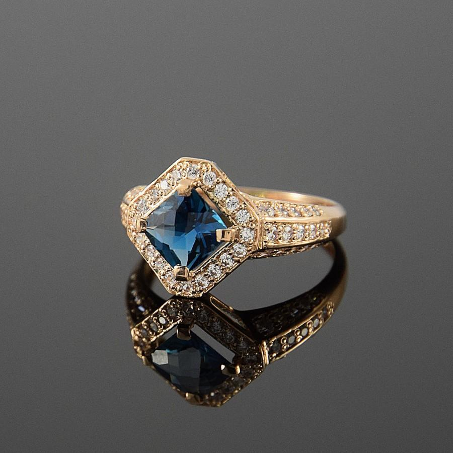Gold Ring, Topaz Ring, Anniversary Ring, Halo Ring, London Blue Within Most Popular Square Sparkle Halo Rings (View 17 of 25)