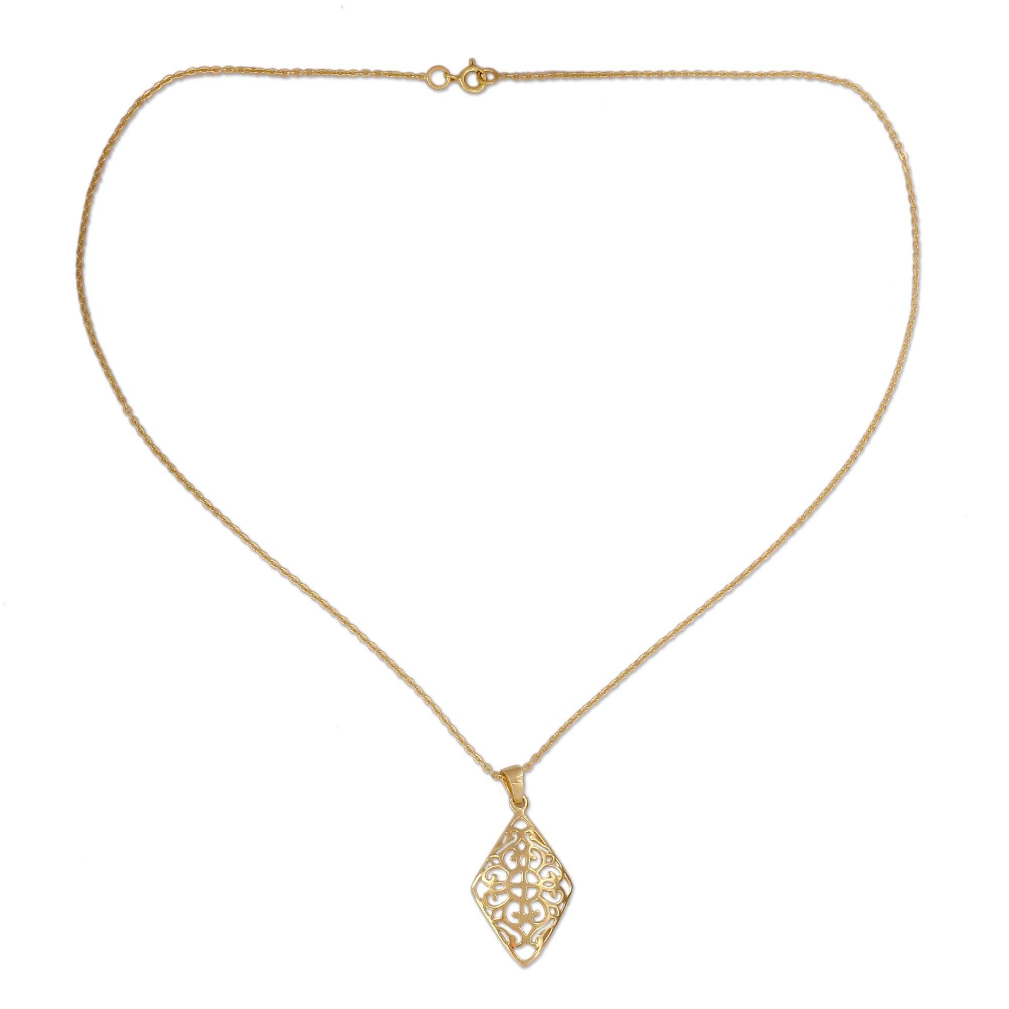 Gold Vermeil Pendant Necklace, 'dazzling Jaipur' With Regard To 2020 Dazzling Locket Pendant Necklaces (View 10 of 25)