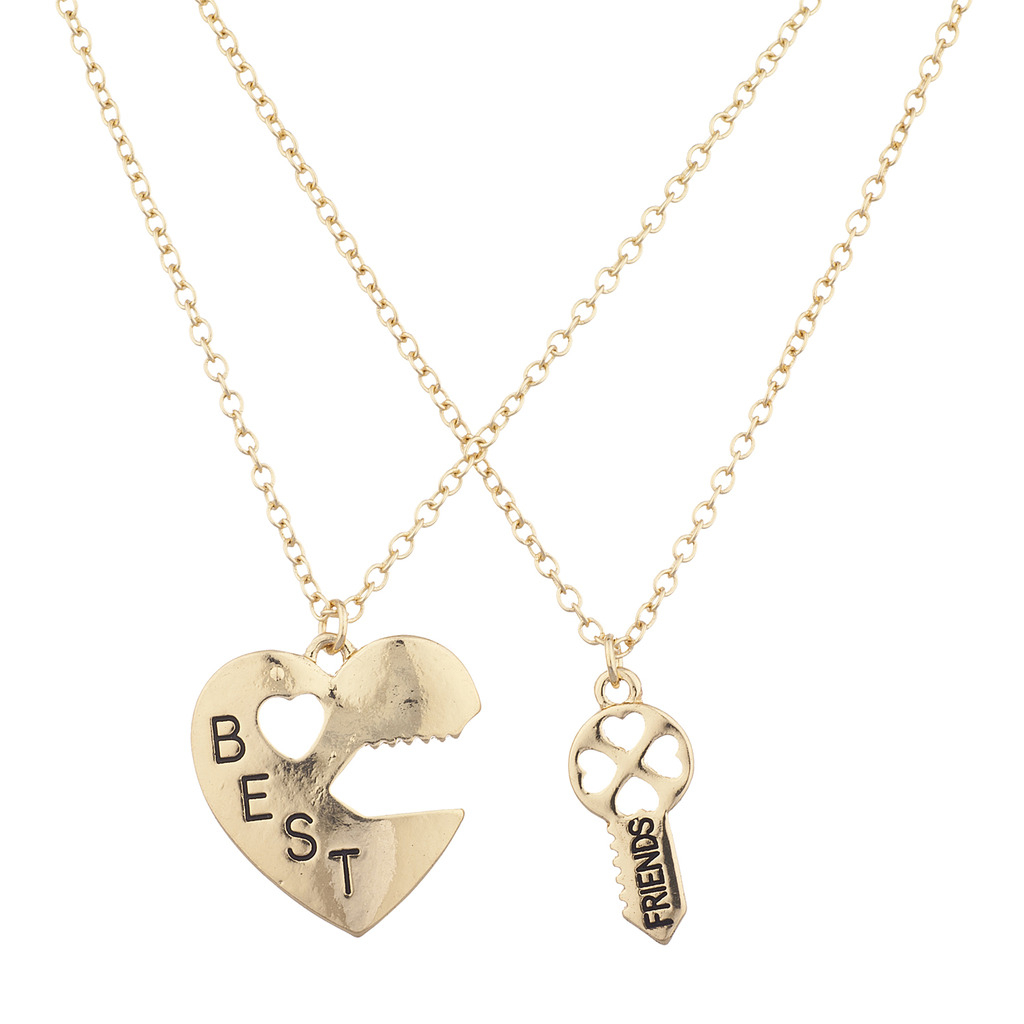 Goldtone Best Friends Bff Heart Lock And Key Charm Necklace 2pc For 2019 Best Friends Heart & Key Necklaces Pendant Necklaces (View 14 of 25)