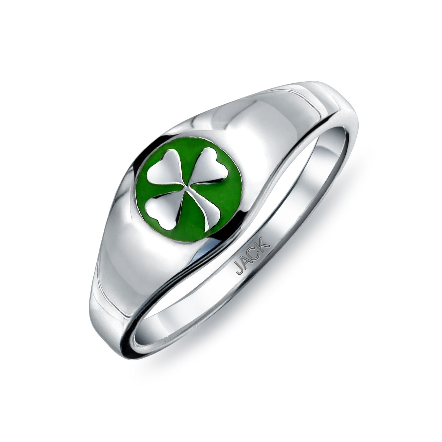 Good Luck Celtic Lucky Irish Four Leaf Green Shamrock Clover Band For Newest Lucky Four Leaf Clover Open Rings (View 9 of 25)