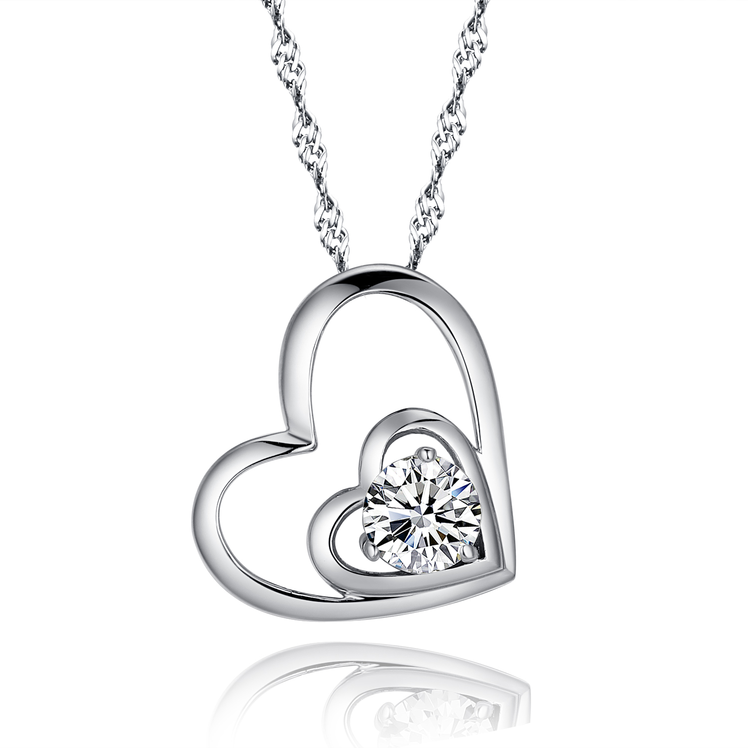 Google Chicute Sterling Silver Double Love Open Heart Pendant Necklace Paved Cubic Zirconia Cz And 18 Inch Chain Women Jewelry With Regard To Best And Newest Heart & Love You More Round Pendant Necklaces (View 10 of 25)