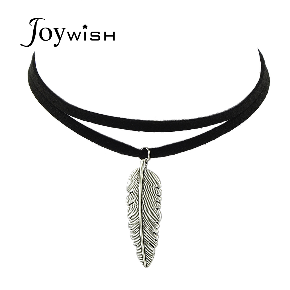 Gothic Boho Style Black Leather Choker Necklace Antique Silver Color In Most Popular Black Leather Feather Choker Necklaces (View 7 of 25)