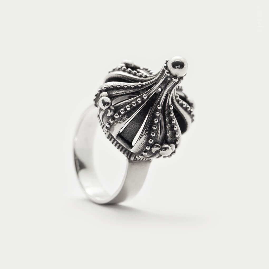 Gothic Crown Ring ⊹ Silver Victorian Ring, Chunky Silver Ring With Most Recent Geometric Crown Rings (View 8 of 15)