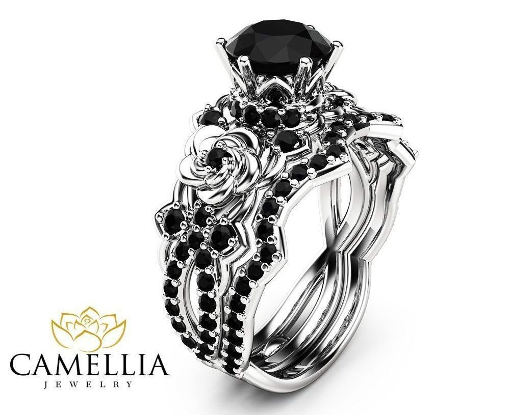 Gothic Engagement Rings | Victorian Goth Jewelry | Unique In 2019 Enhanced Black Diamond Anniversary Bands In Sterling Silver (View 14 of 25)