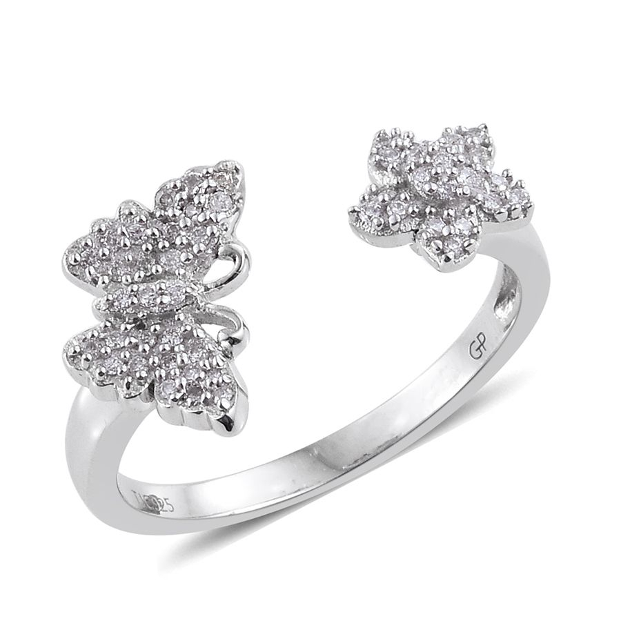 Gp Certified Diamond Platinum Over Sterling Silver Butterfly Open Ring  (Size 9.0) Tdiawt 0.25 Cts, Tgw 0.28 Cts (View 12 of 25)