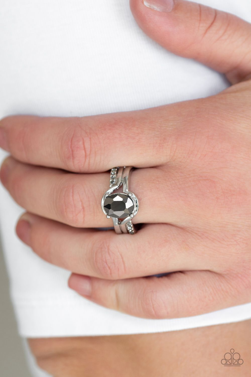 Gray Rhinestone Ring! Glistening Silver Bands Fold Around A Glittery In 2018 Regal Band Rings (View 7 of 25)