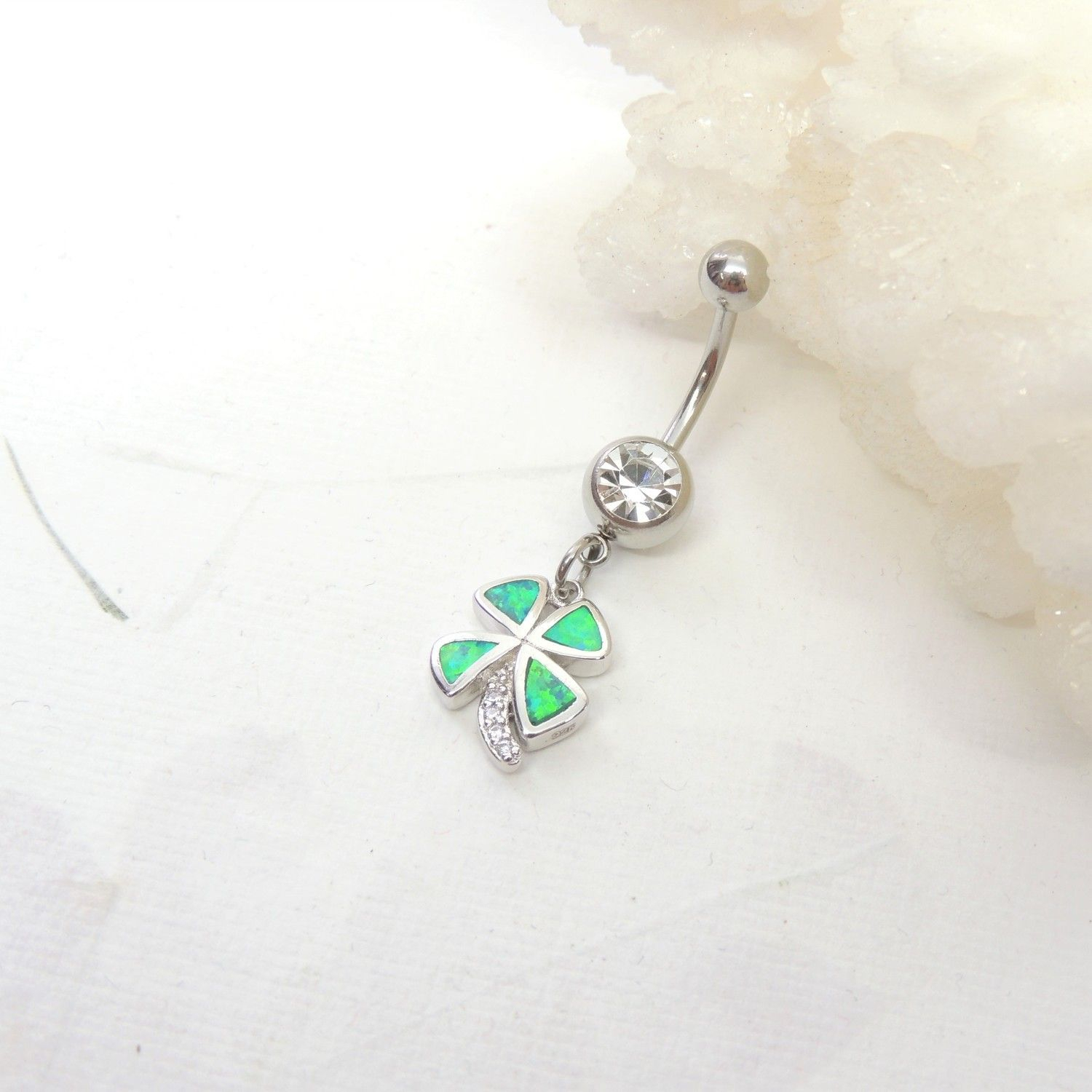 Green Opal Lucky Four Leaf Clover Shamrock Belly Ring | Belly Rings Intended For Best And Newest Dangling Four Leaf Clover Rings (View 16 of 25)