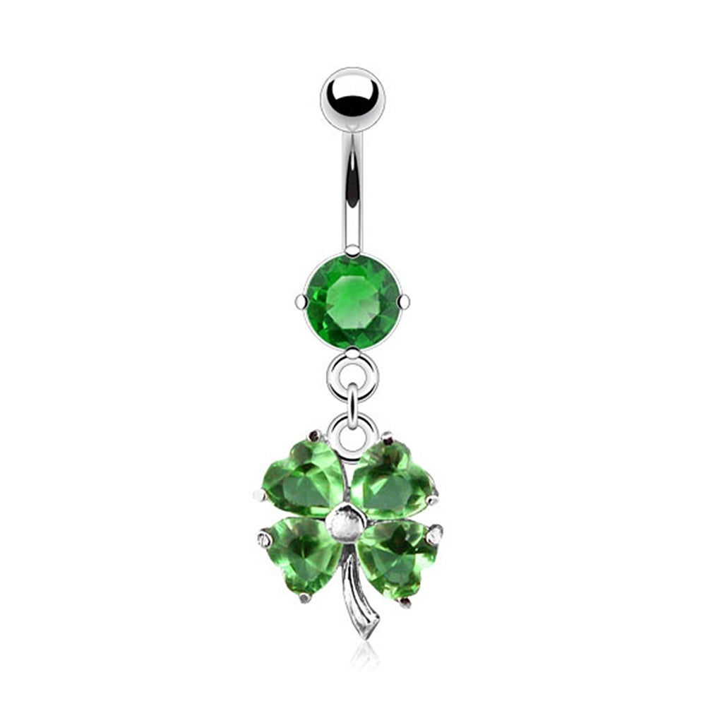 "{Green} Shamrock (Four Leaf Clover) Navel Belly Button Ring Dangle W/  Cz 14Ga 3/8"" Long Green (Sold Ind (View 1 of 25)"