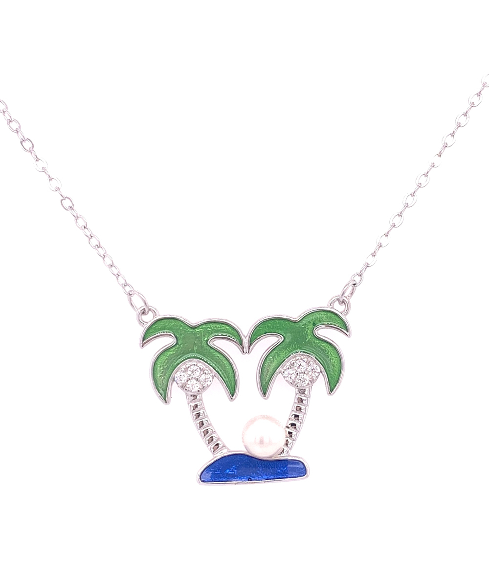 Green & Sterling Silver Two Palm Tree Oasis Pendant Necklace Within Newest Tropical Palm Pendant Necklaces (View 4 of 25)