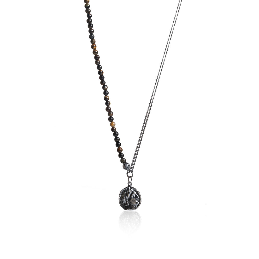 Green Tiger Eye Beaded Chain Necklace – In Gunmetal In Recent Beaded Chain Necklaces (View 7 of 25)