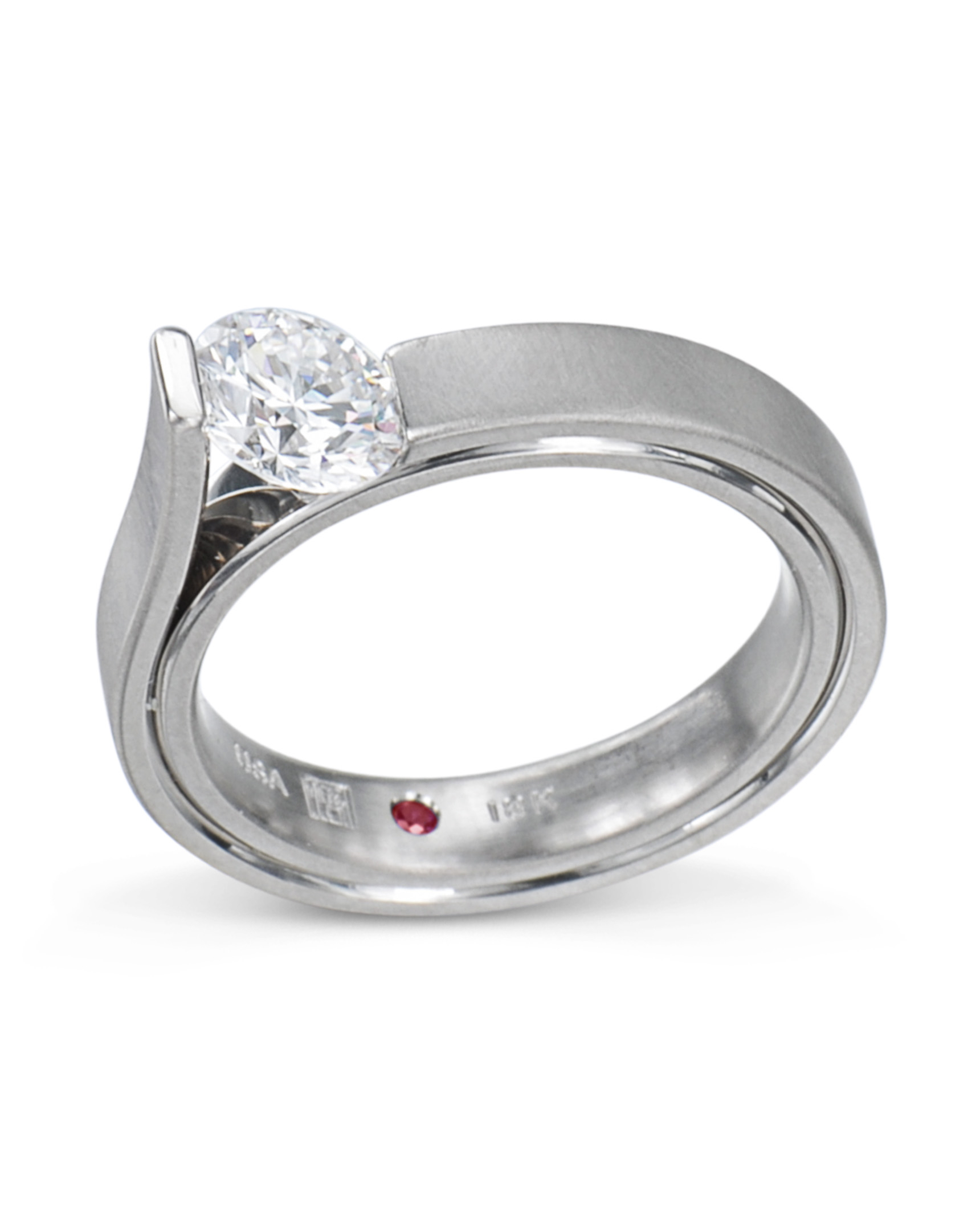 Grey Gold Slant Set Diamond Engagement Ring Throughout Most Current Diamond Slant Anniversary Bands In White Gold (View 9 of 25)