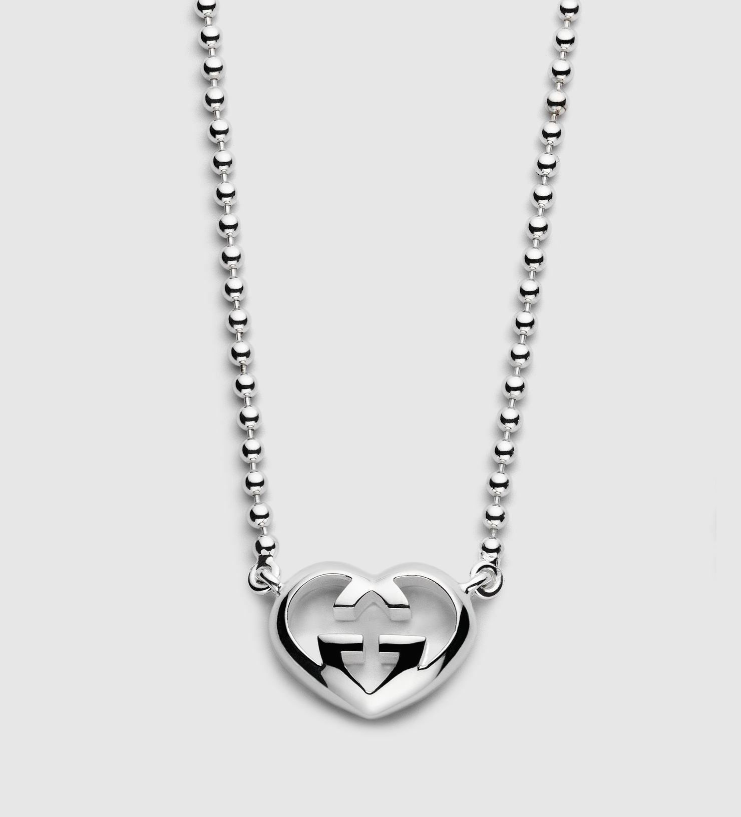 Gucci Metallic Necklace With Heart Shaped Interlocking G Motif Pendant Pertaining To 2020 Interlocked Hearts Locket Element Necklaces (View 9 of 25)