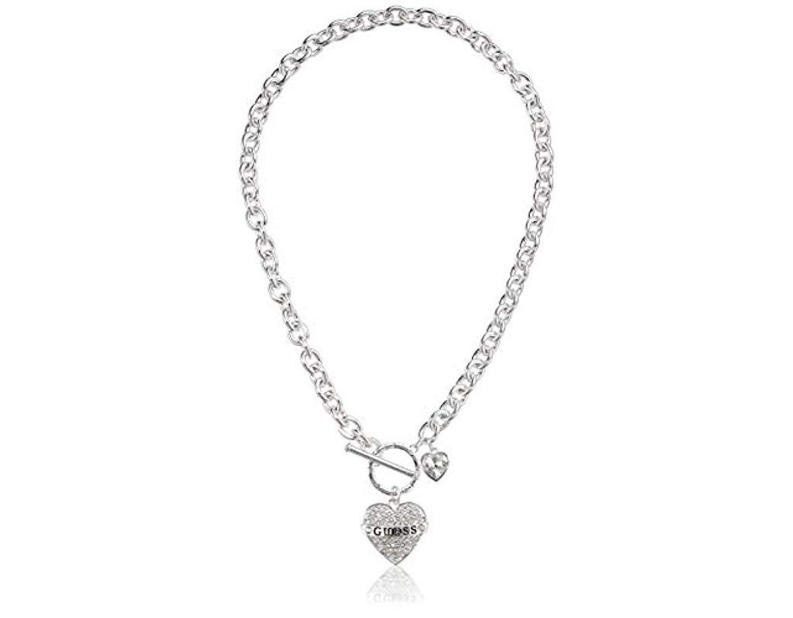Guess Pave Heart With Logo Banner Pendant Toggle Necklace In In Current Ornate Hearts Tassel Necklaces (View 7 of 25)