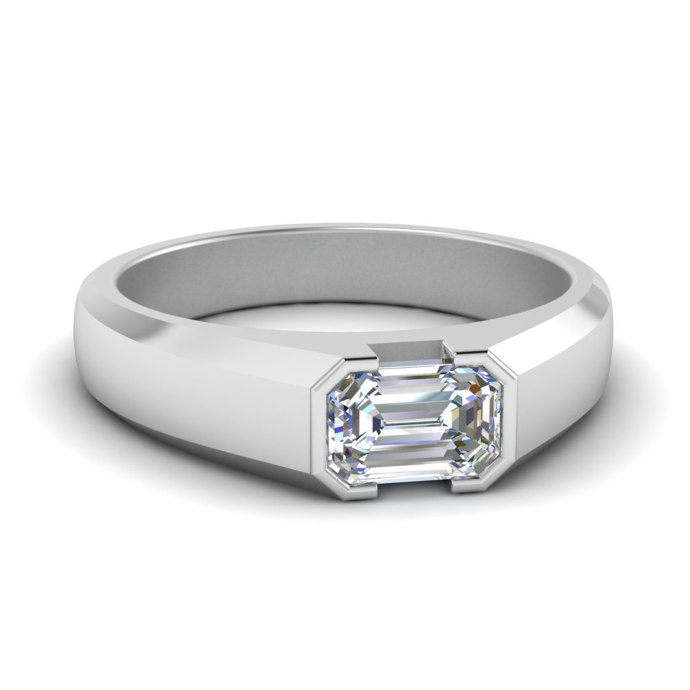 Half Bezel Emerald Cut Mens Ring In Newest Diamond Five Row Anniversary Rings In White Gold (View 17 of 25)