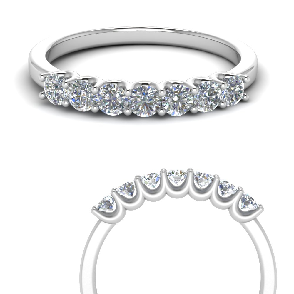 Half Carat Round Diamond Delicate 7 Stone Anniversary Band With Regard To 2020 Diamond Seven Stone Anniversary Ring In White Gold (View 3 of 25)