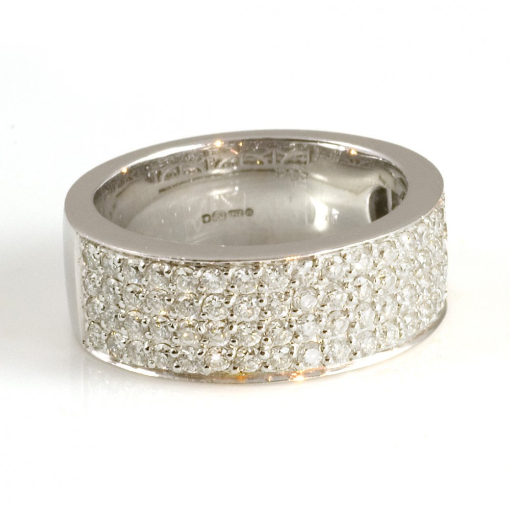 Half Eternity Rings In Latest Diamond Four Row Anniversary Bands In White Gold (View 7 of 25)
