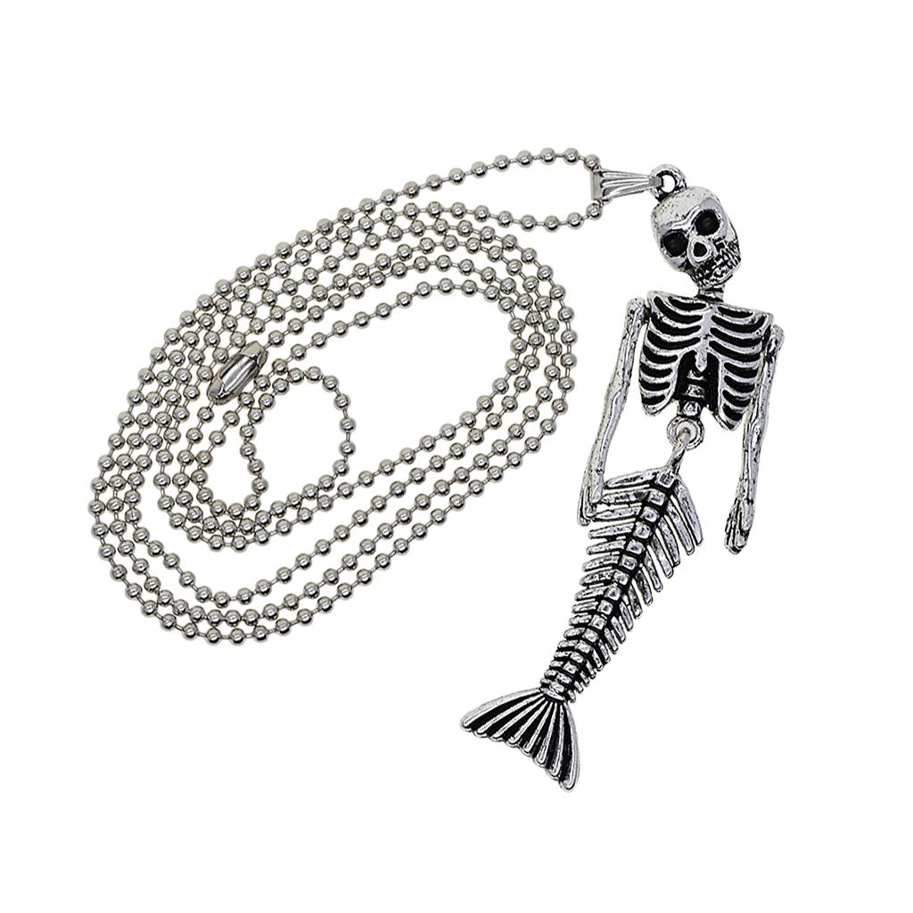 Halloween Beaded Chain Necklace With Mermaid Skeleton Pendant Charms Men Women Necklace Jewelry Regarding Most Current Beaded Chain Necklaces (View 12 of 25)