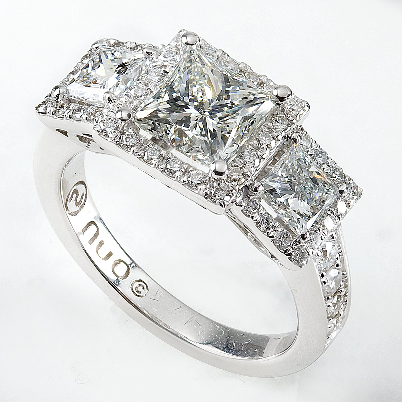 Halo 3 Stone Princess Cut Diamond In 14K White Gold 2 3/4Ct Throughout Recent Princess Cut Diamond Three Stone Anniversary Bands In White Gold (Gallery 14 of 25)