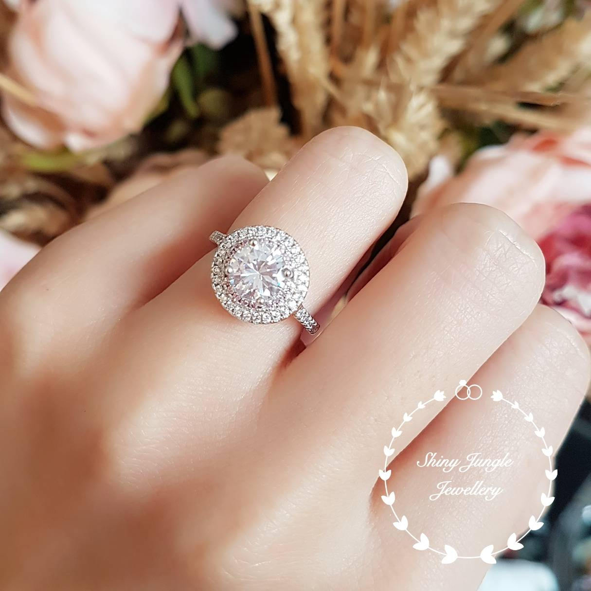 Halo Engagement Ring, Pink Diamond Simulant Halo Ring, Classic Bridal, White Gold Plated Sterling Silver, Bridal Ring, Round Brilliant Cut With Most Current Classic Sparkle Halo Rings (View 10 of 25)