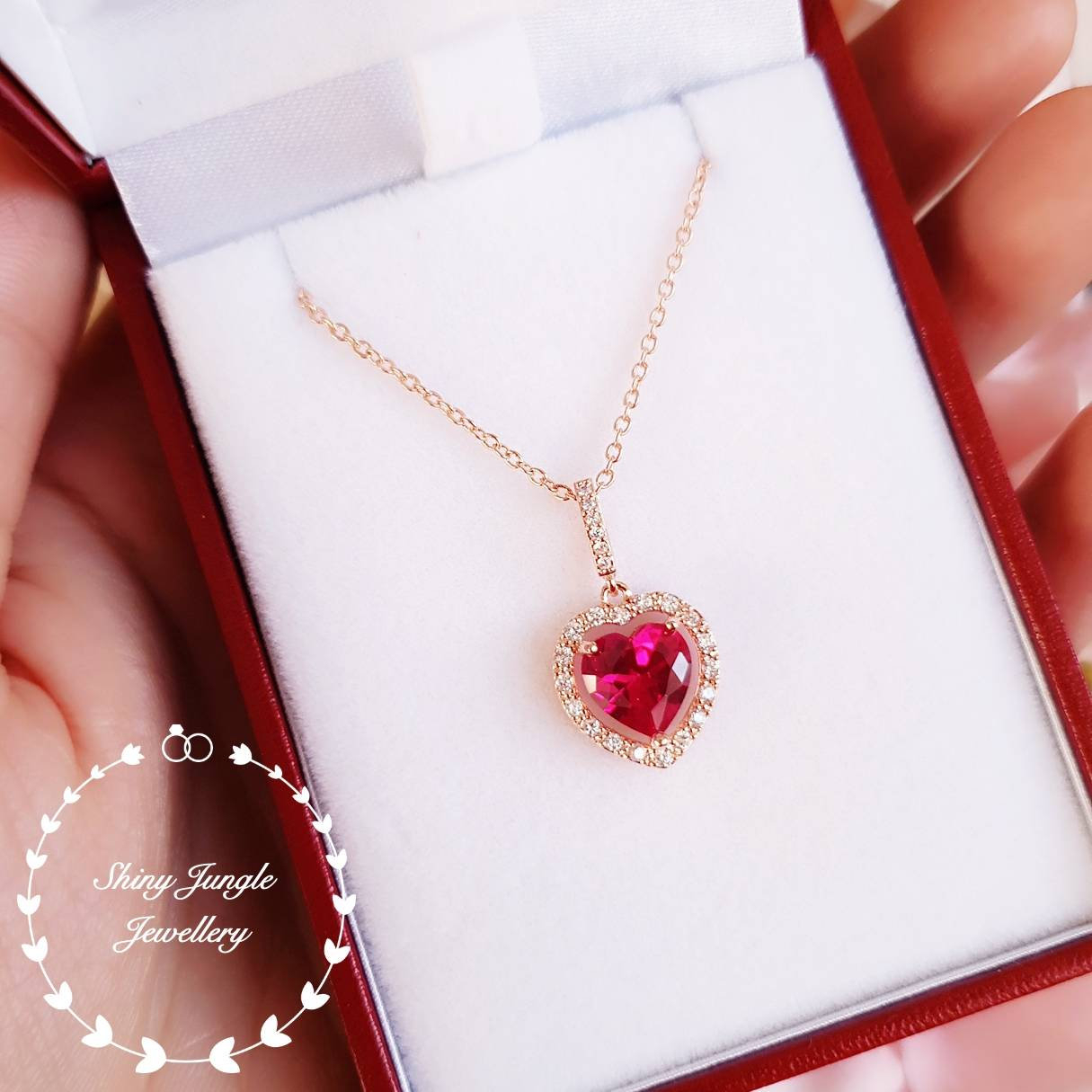 Halo Heart Shaped Ruby Necklace, Rose Gold Plated Heart Cut Ruby Intended For Most Popular Red July Birthstone Locket Element Necklaces (View 9 of 25)