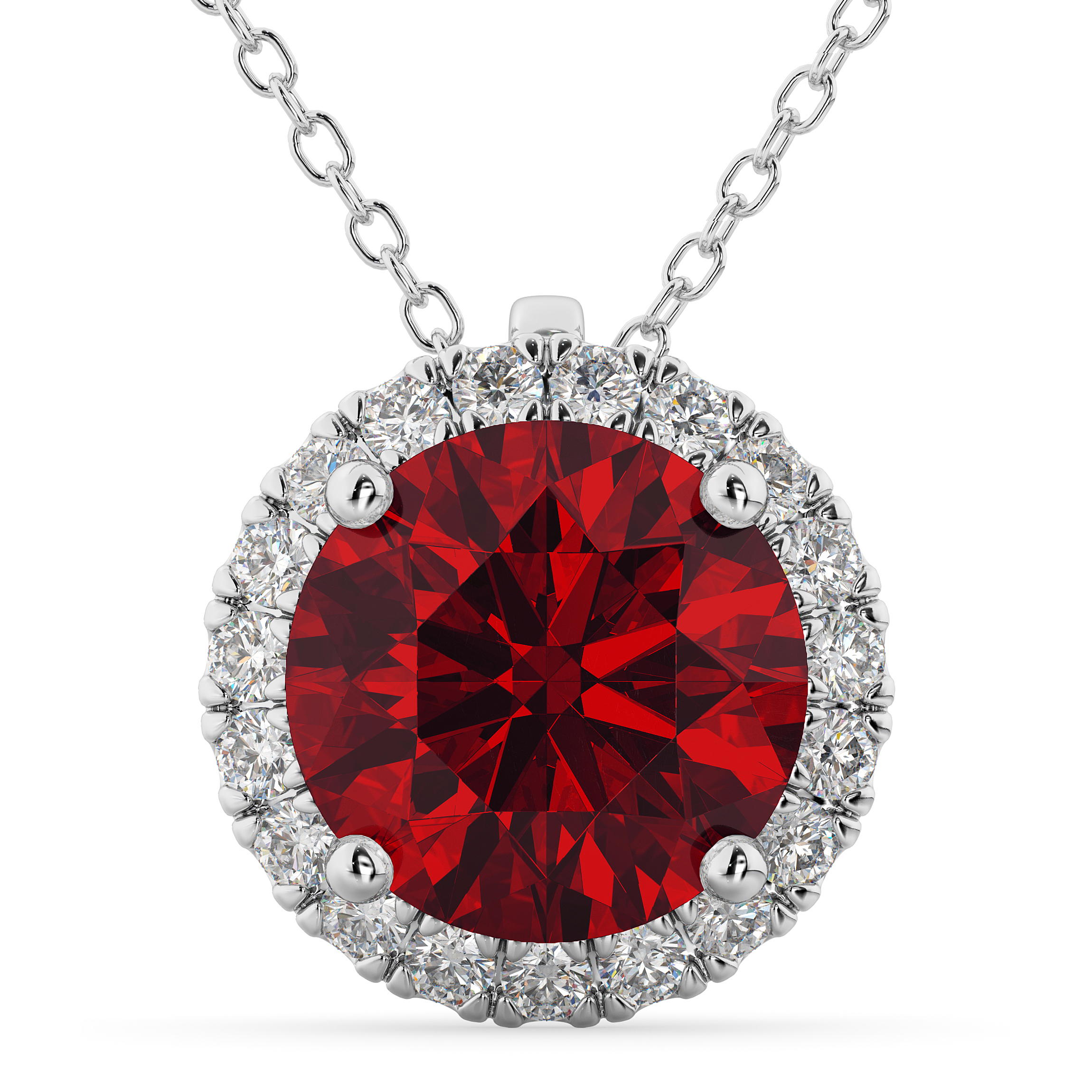 Halo Round Ruby & Diamond Pendant Necklace 14K White Gold ( (View 11 of 25)