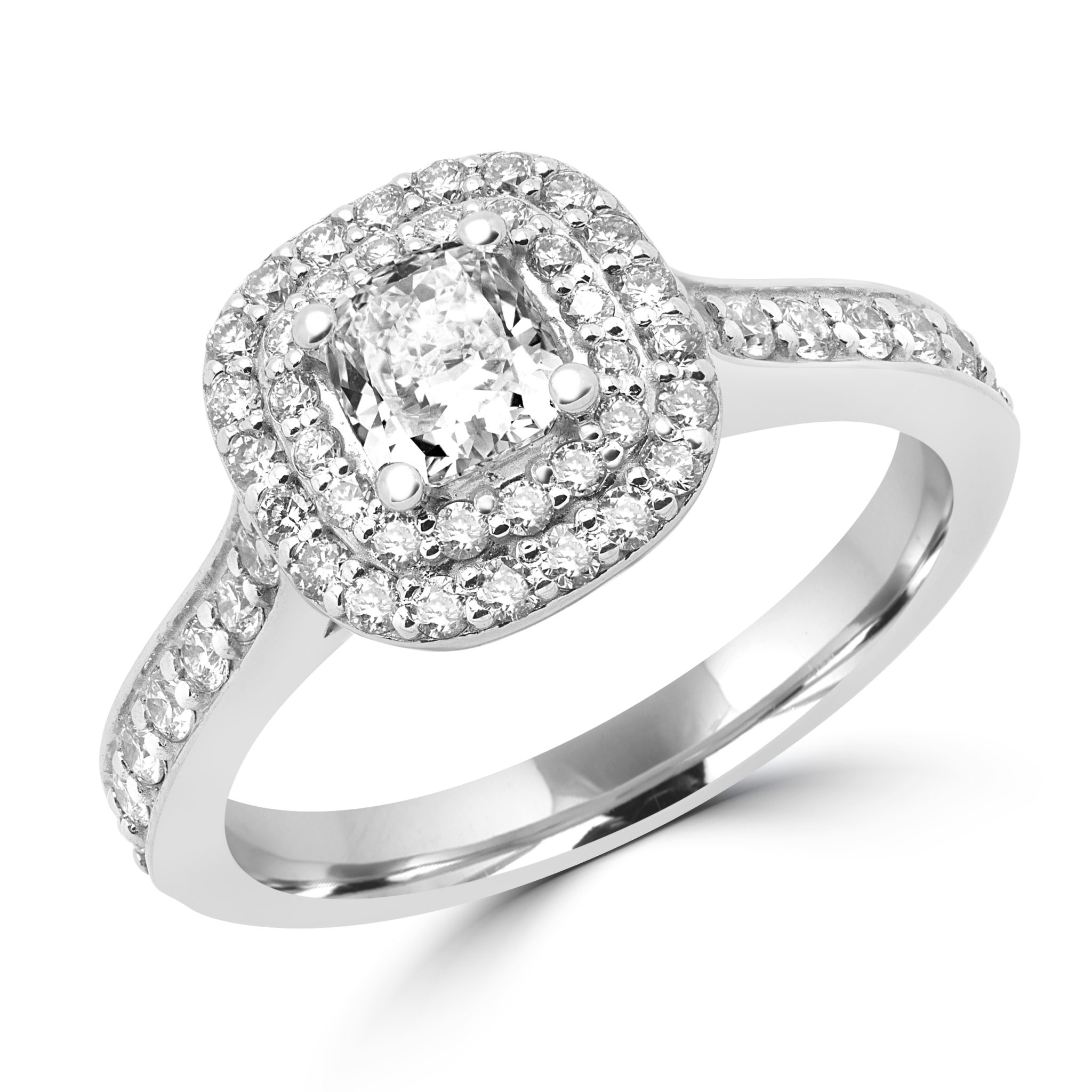 Halo Sparkling Engagement Ring 0.58 (Ctw) + Cz Center In 14K White Gold With Most Current Sparkling Halo Rings (Gallery 12 of 25)