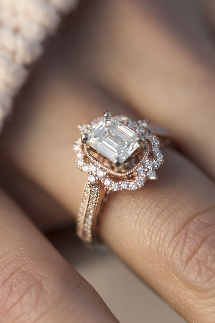 Halo Vintage Engagement Ring In 18K Rose Gold | Wedding Regarding Most Recent Enhanced Blue Diamond Vintage Style Anniversary Bands In White Gold (Gallery 3 of 25)