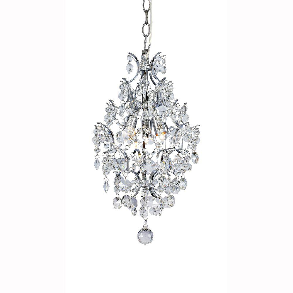 Hampton Bay 3 Light Chrome Branches Pendant With Crystals Throughout Newest Sparkling Teardrop Chandelier Pendant Necklaces (View 2 of 25)