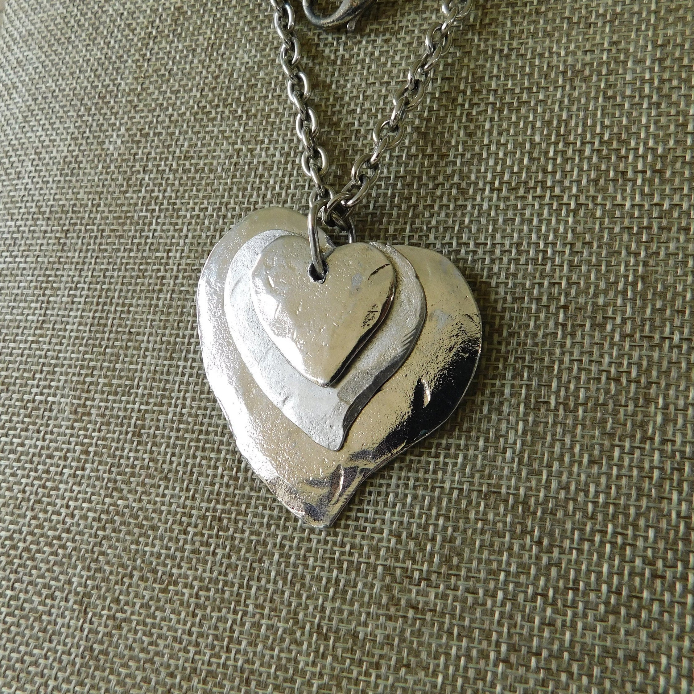 Hand Crafted Silver Hammered Heart Necklace, Triple Layer Hammered Heart Necklace, Artisan Silver Heart Necklace, Valentine Jewelry With Regard To Most Popular Matte Brilliance Heart Pendant Necklaces (View 10 of 25)