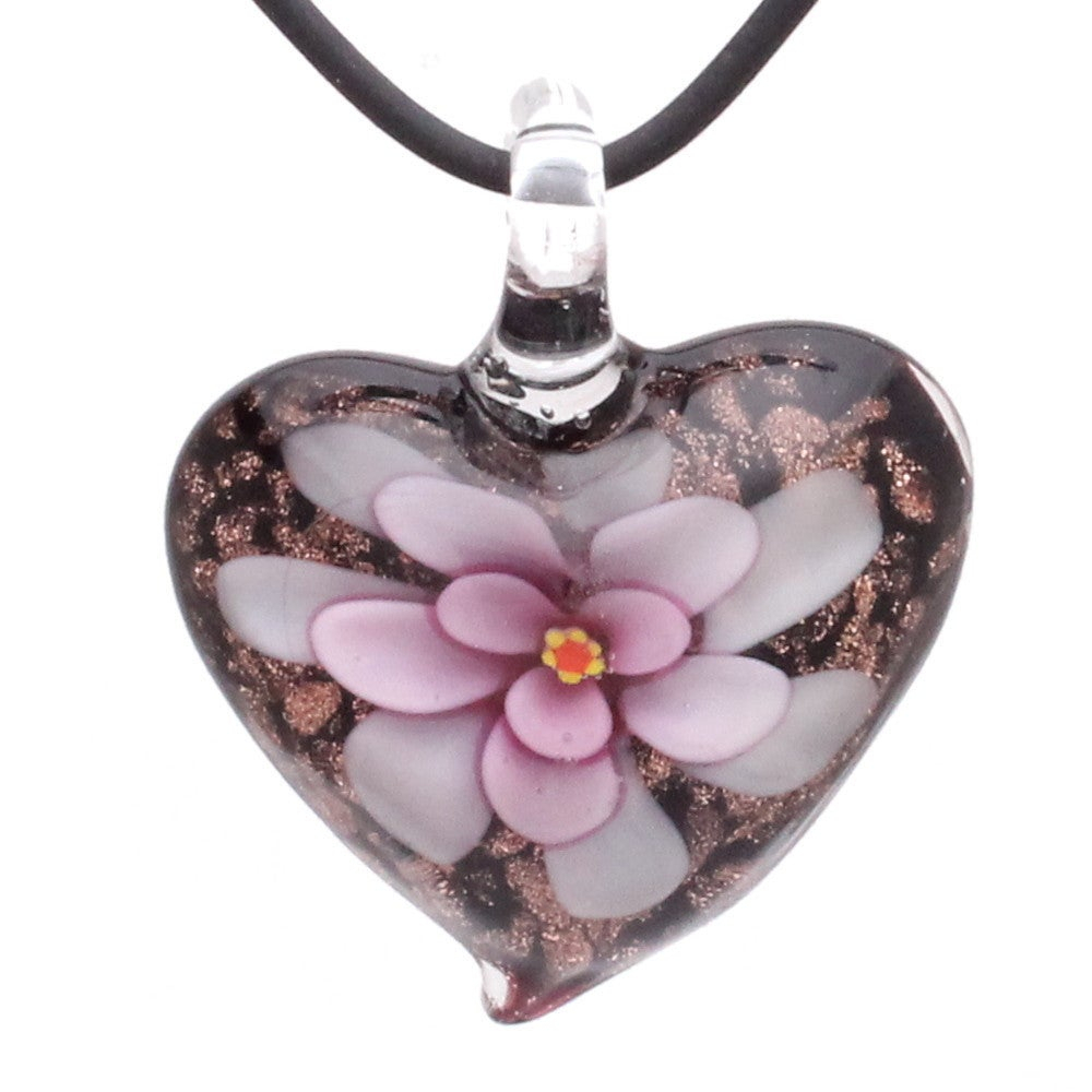Handcrafted Italian Murano Style Glass Pink Daisy Flower Heart Pendant Necklace With Regard To 2019 Pink Murano Glass Leaf Pendant Necklaces (View 8 of 25)