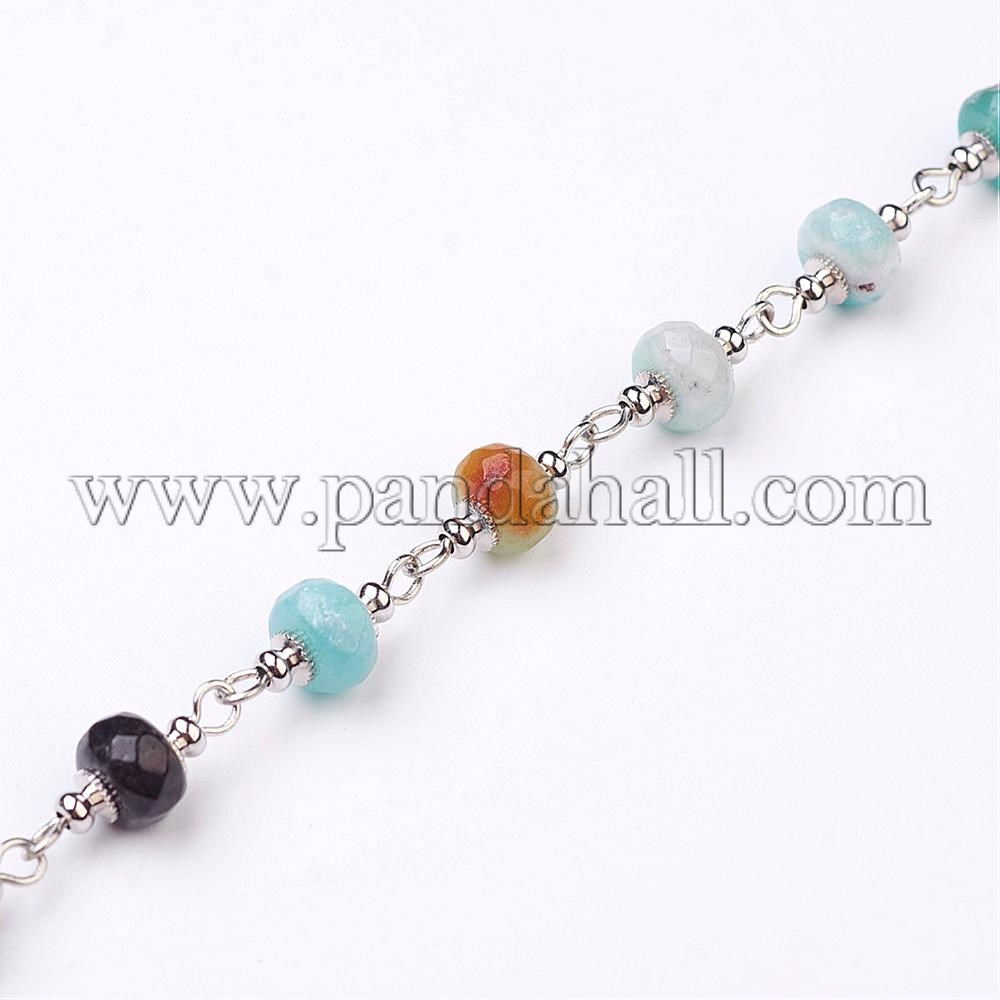 Handmade Amazonite Beaded Chains, For Necklaces Bracelets Making, With  Platinum Iron Eye Pin, 1M, Beads: 8Mm Regarding Best And Newest Beaded Chain Necklaces (View 17 of 25)