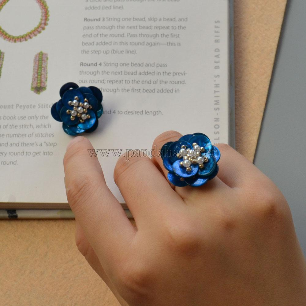 Handmade Blue Button Flower Rings With Pearls And Seed Beads Pertaining To Most Popular Strings Of Beads Rings (Gallery 23 of 25)