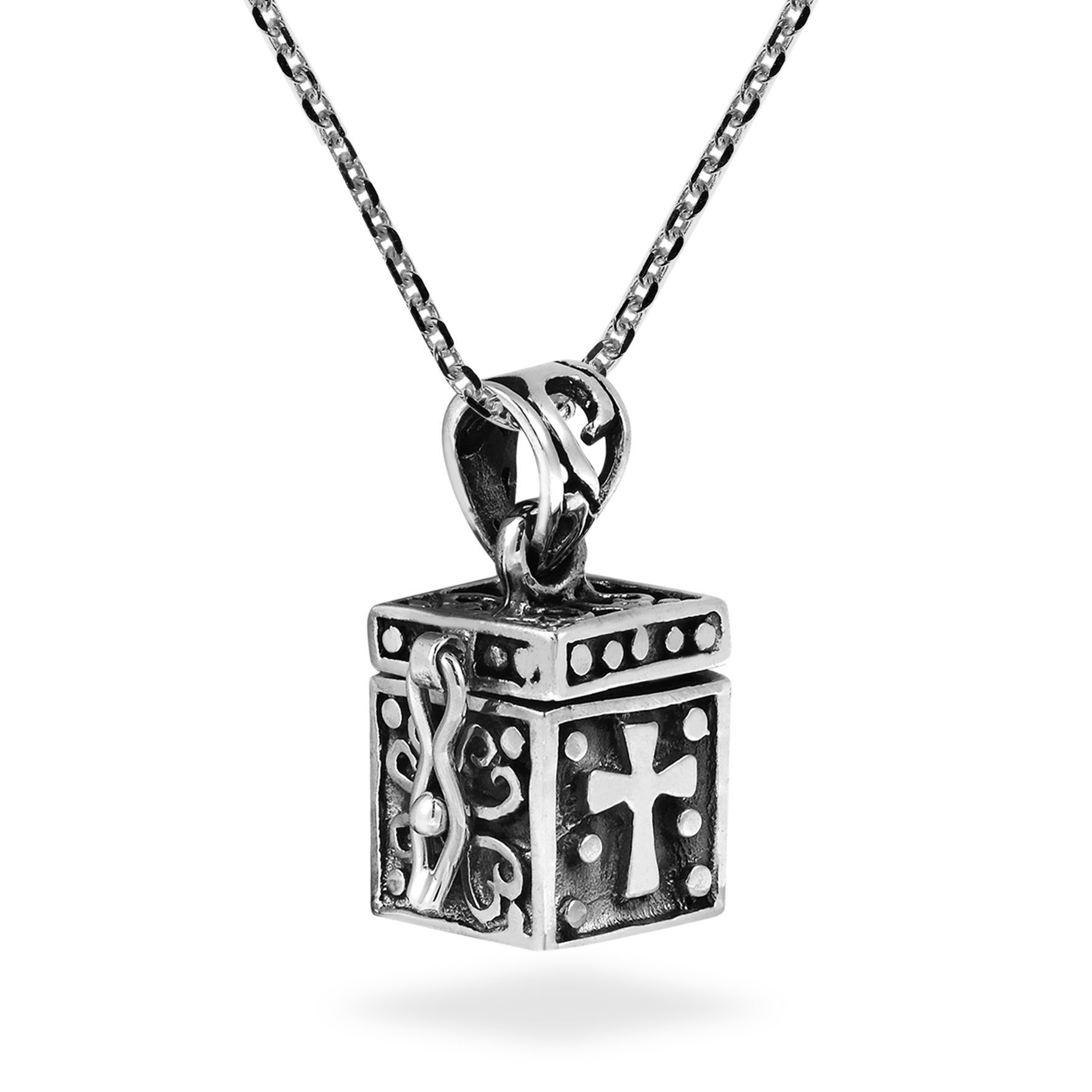 Handmade Christian Prayer Box Locket .925 Sterling Silver Necklace Pertaining To Most Current Shimmering Knot Locket Element Necklaces (Gallery 19 of 25)