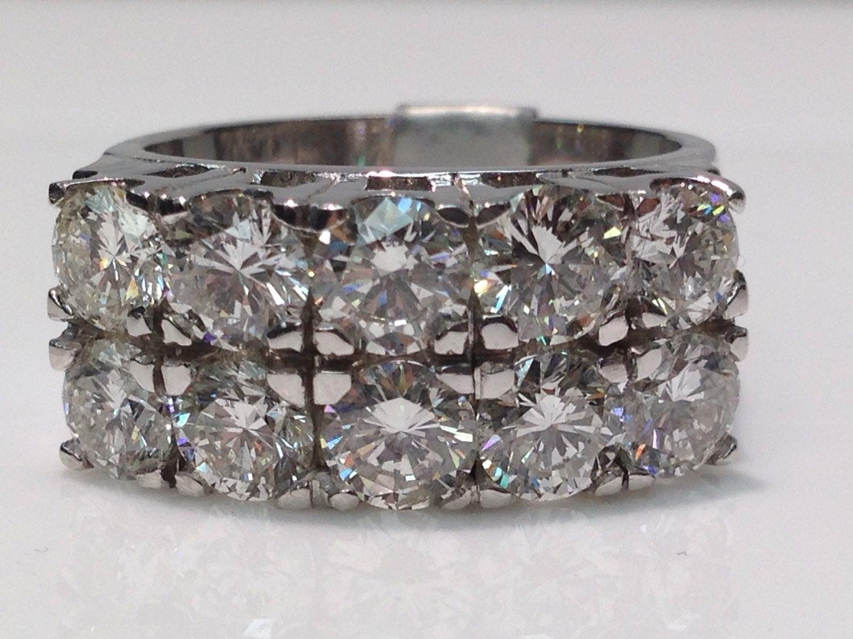 Handmade Double Row Diamond Wedding Band In 14K White Gold, Diamond Ring,  Diamond Band, Anniversary Ring, Wedding Ring, Statement Ring With Regard To Most Popular Diamond Four Row Anniversary Rings In White Gold (Gallery 21 of 25)