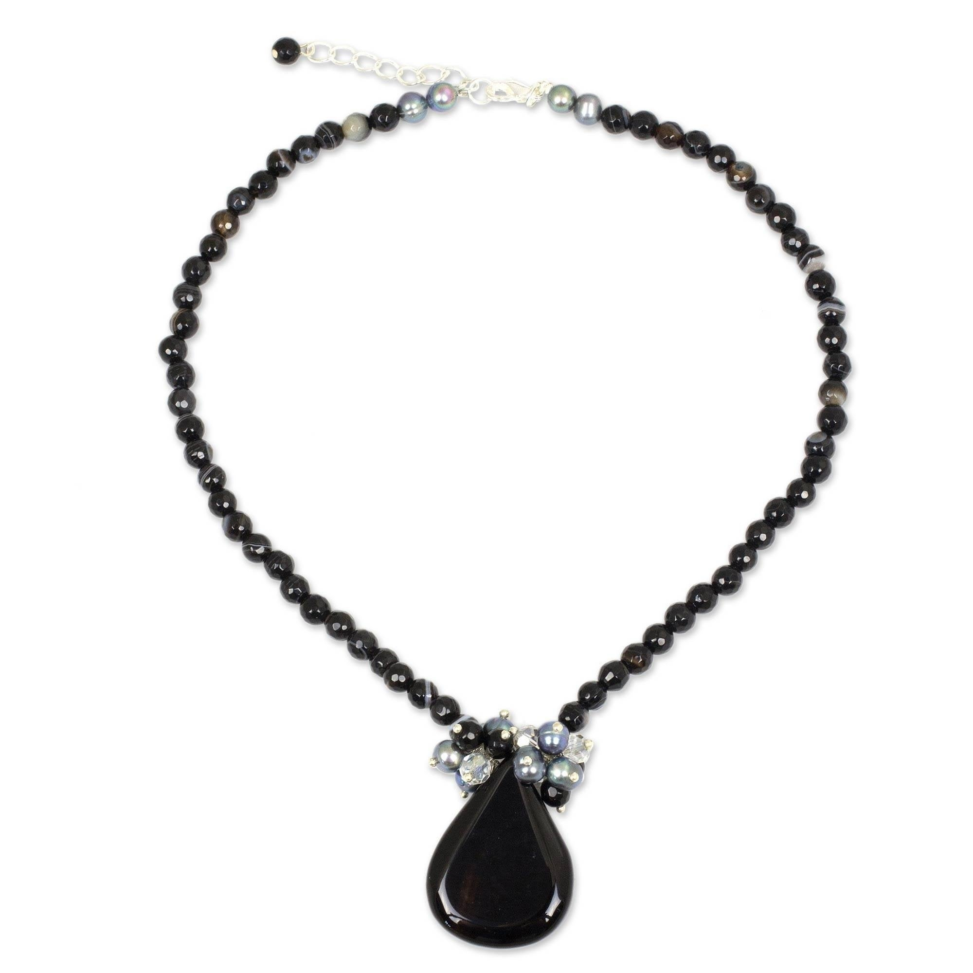 Handmade Freshwater Pearls And Black Onyx Teardrop Falls Beaded Pendant Necklace (thailand) With Regard To Best And Newest Sparkling Teardrop Chandelier Pendant Necklaces (View 3 of 25)
