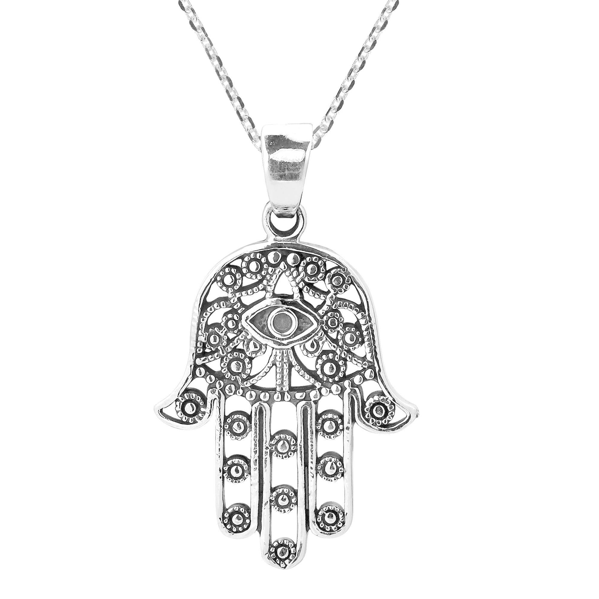 Handmade Hamsa Hand Of Fatima With Evil Eye Sterling Silver Necklace  (Thailand) Inside Most Recently Released Letter O Alphabet Locket Element Necklaces (View 10 of 26)