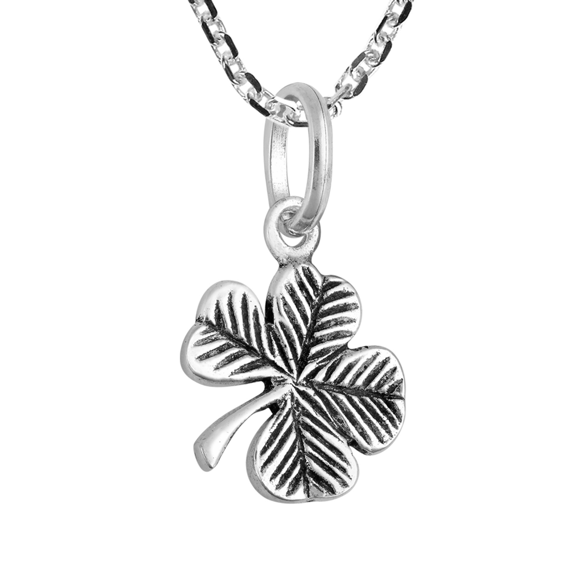 Handmade Lucky Charm Sterling Silver Four Leaf Clover Pendant Necklace  (Thailand) With Most Up To Date Lucky Four Leaf Clover Y  Necklaces (View 12 of 25)