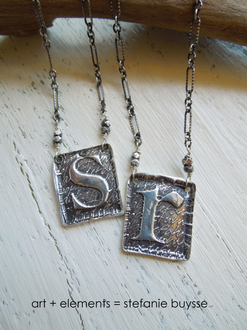 Handmade Poetic Initial Pendant Necklace Lowercase Letters A, C, E, N, O,  R, S, T, U, V, X, Z Sterling Silver For Most Recently Released Letter N Alphabet Locket Element Necklaces (View 8 of 25)