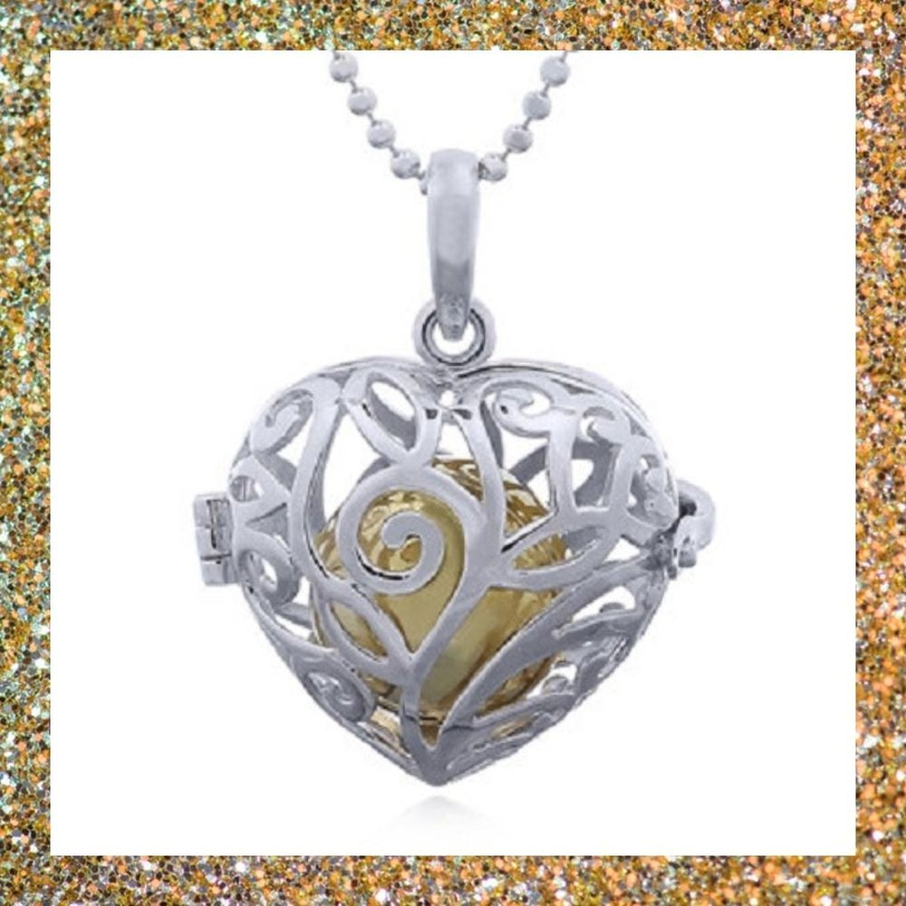 Handmade Silver Heart Pendant Genuine 925 Sterling Harmony Brass Inside Newest Chiming Filigree Hearts Pendant Necklaces (Gallery 11 of 25)