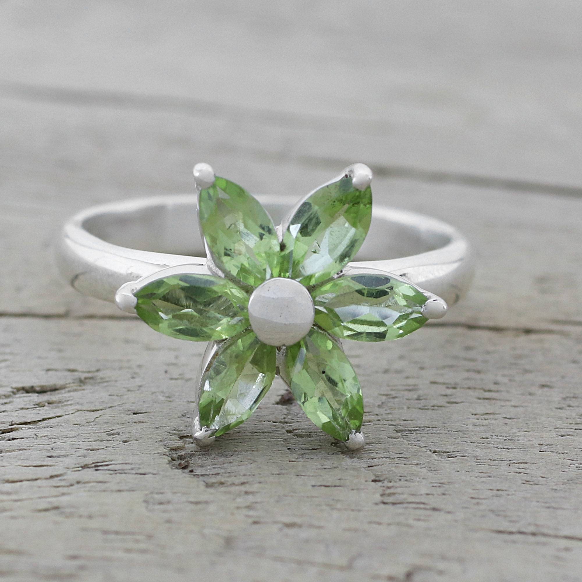 Handmade Sterling Silver 'sparkling Daisy' Peridot Ring (India) For 2017 Sparkling Daisy Flower Rings (Gallery 5 of 25)