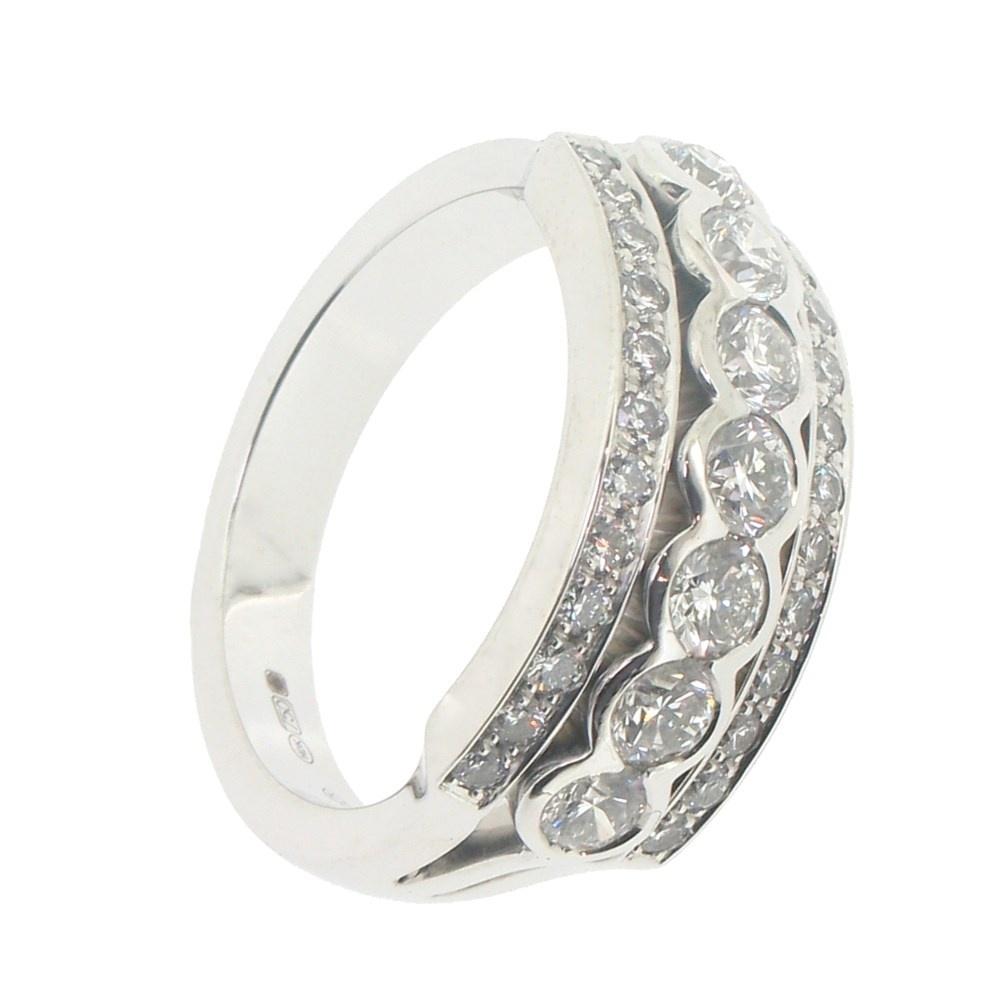 Hans D. Krieger Hans D. Krieger 18ct White Gold 3 Row Diamond Dress Ring ~ 312.2246. (View 12 of 25)