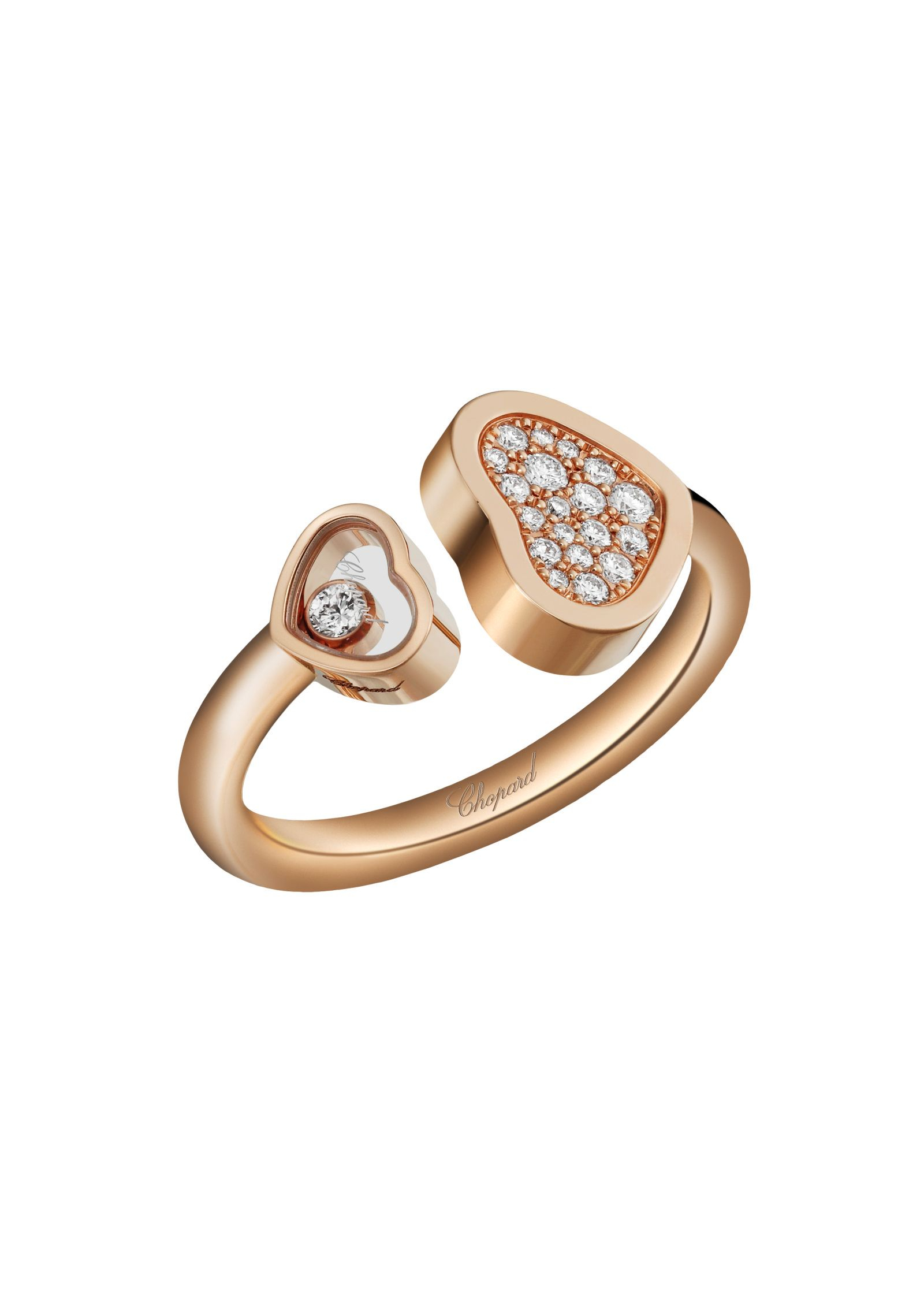 Happy Hearts Ring 18k Rose Gold And Diamonds @829482 5900 – Chopard Intended For Latest Two Sparkling Hearts Rings (View 16 of 25)