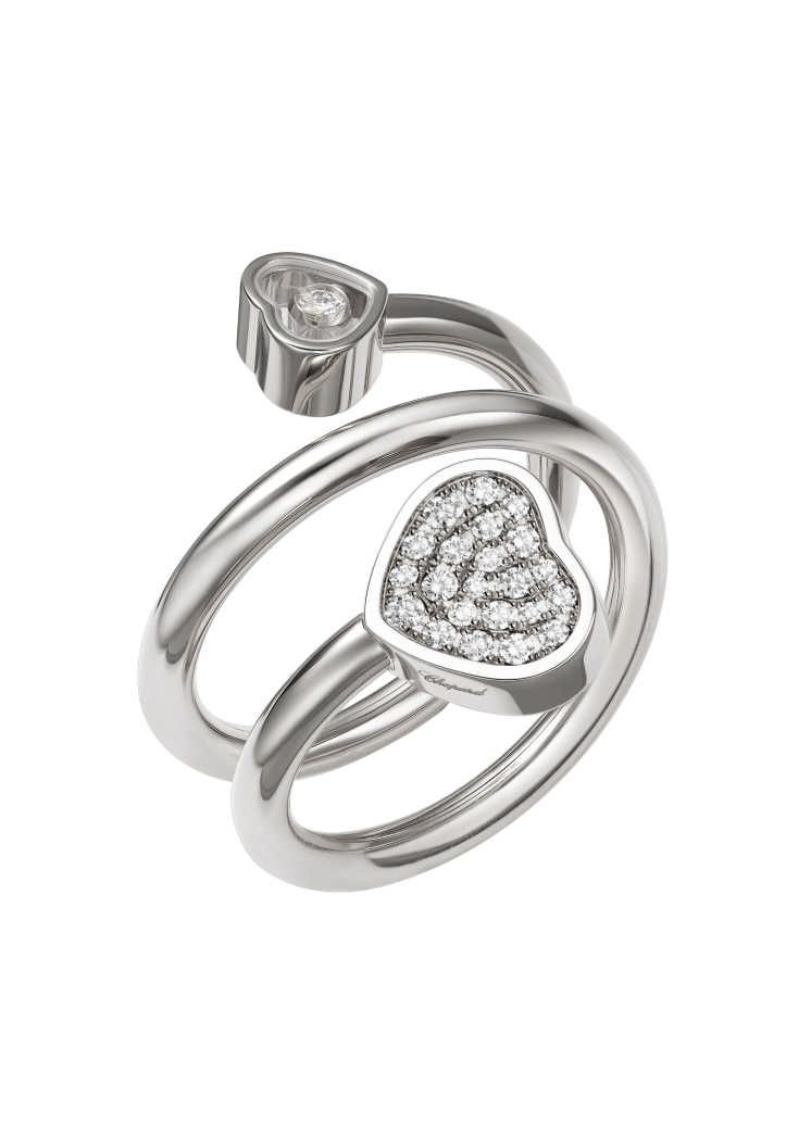 Happy Hearts Twist Ring 18 Carat White Gold & Diamond Set @82A082 For 2017 Sparkle & Hearts Rings (Gallery 22 of 25)
