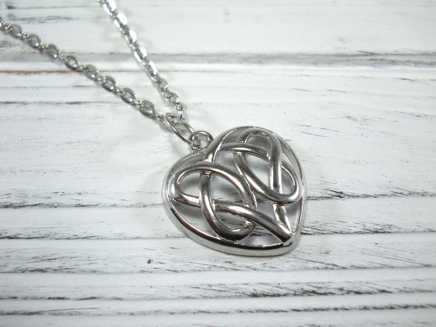 Heart Celtic Knot Pendant Necklace, Celtic Heart Pendant, Trinity Knot  Heart Necklace, Love Knot Charm, Woman's Heart Necklace, Celtic Knot Throughout Most Recently Released Knotted Heart Pendant Necklaces (Gallery 18 of 25)