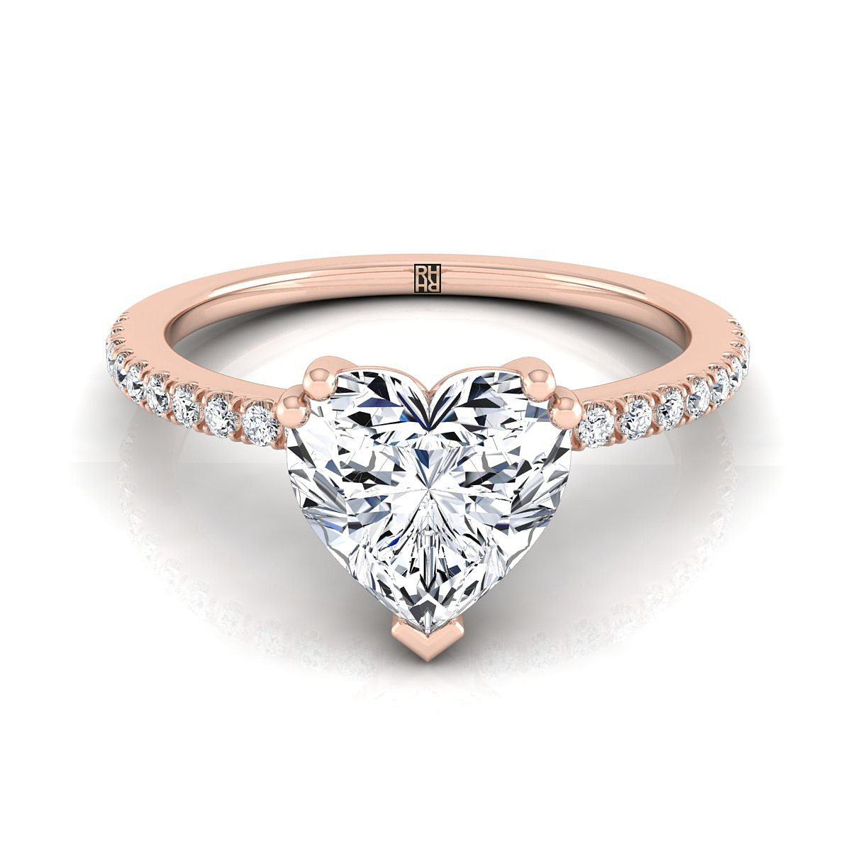 Heart Diamond Double Prong Engagement Ring Rose Gold Classic Regarding Most Up To Date Diamond Heart Shaped Anniversary Bands In Gold (View 14 of 25)
